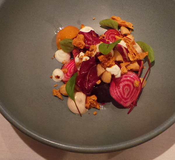 Beetroot and goats curd salad, salted honeycomb and smoked almond
