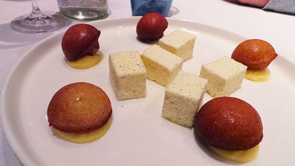 Petits Fours: Almond and apple financier, rosemary passionfruit marshmallows